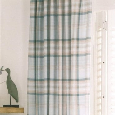 Kelso Check Pencil Pleat Curtains in Duck Egg Blue