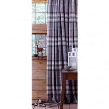 Kelso Check Pencil Pleat Curtains in Grey