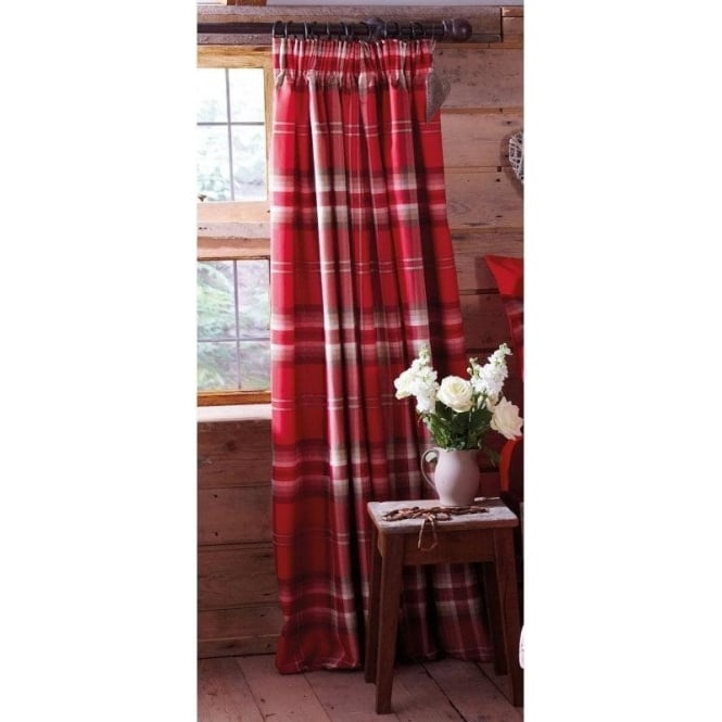 Catherine Lansfield Kelso Check Pencil Pleat Curtains in Red