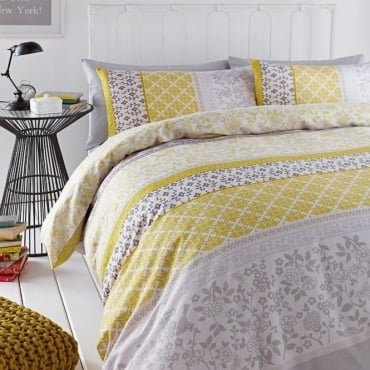 Oriental Birds Duvet Set in Yellow