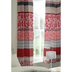 Oriental Birds Eyelet Curtains in Red