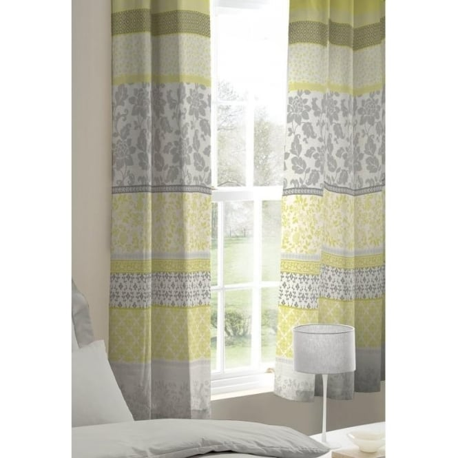Catherine Lansfield Oriental Birds Eyelet Curtains in Yellow