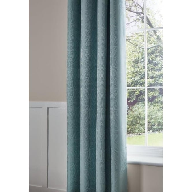 Catherine Lansfield Ornate Jacquard Curtains in Duck Egg Blue