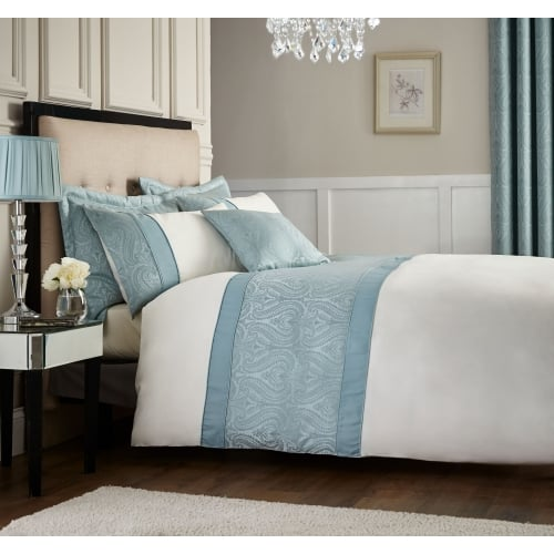 Catherine Lansfield Ornate Jacquard Bed Set In Duck Egg