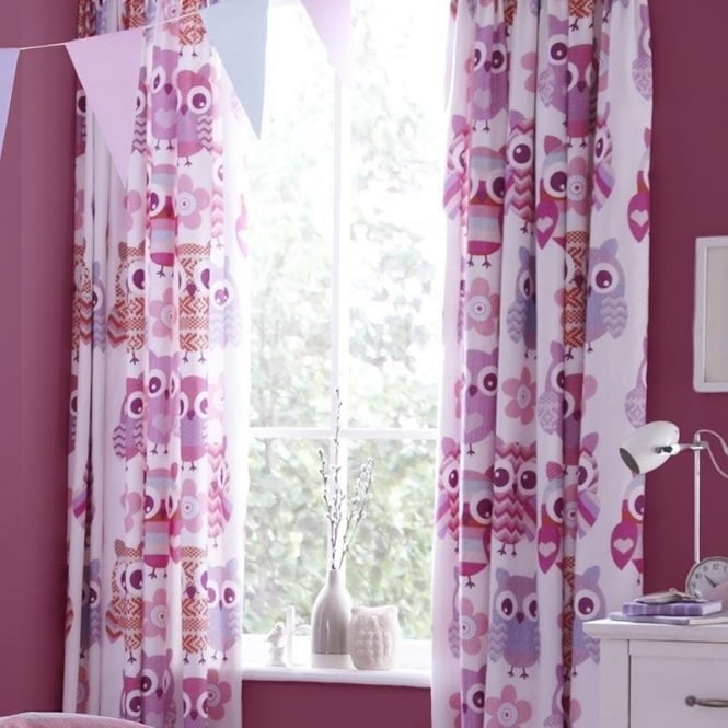 Catherine Lansfield Owl Tab Top Curtains