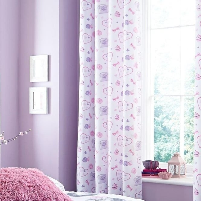 Catherine Lansfield Pretty Kitty Eyelet Curtains