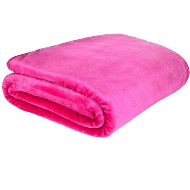 Catherine Lansfield Raschel Throw in Hot Pink