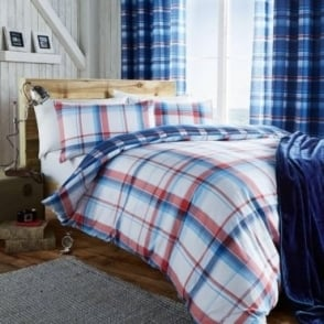 St Ives Check Duvet Set in Blue