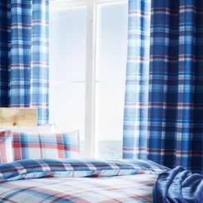 St Ives Check Eyelet Curtains in Blue