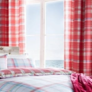 St Ives Check Eyelet Curtains in Red
