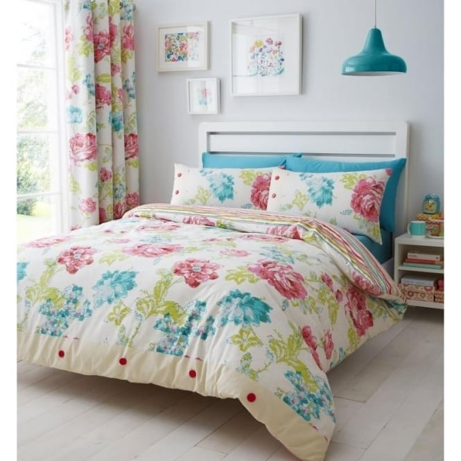 Catherine Lansfield Stab Stitch Floral Duvet Set