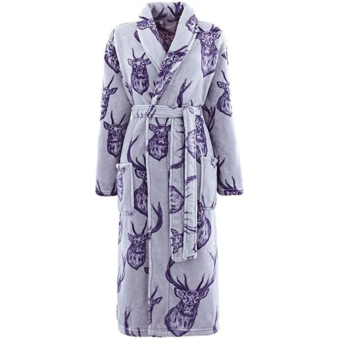 Catherine Lansfield Stag Bathrobe in Grey