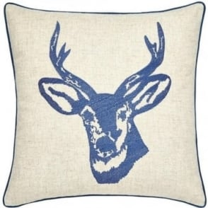 Stags Head Cushion Cover in Navy