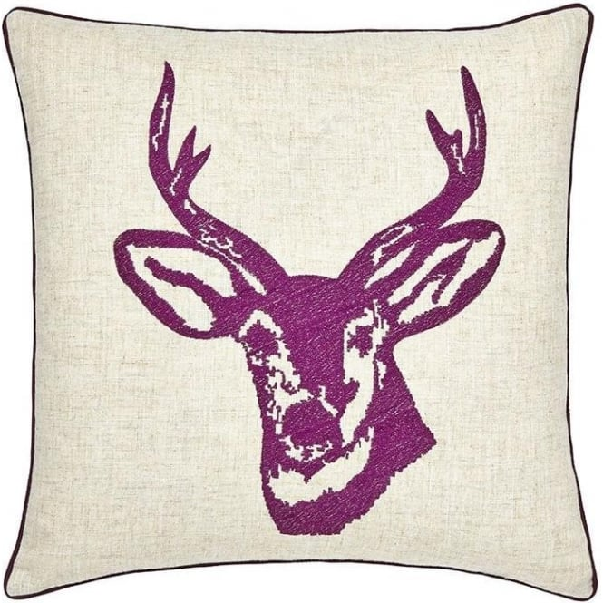 Catherine Lansfield Stags Head Cushion Cover in Plum