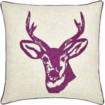 Stags Head Cushion Cover in Plum