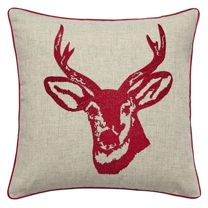Catherine Lansfield Stags Head Cushion Cover in Red