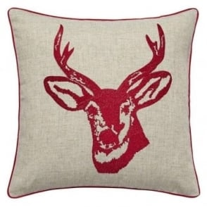 Stags Head Cushion Cover in Red