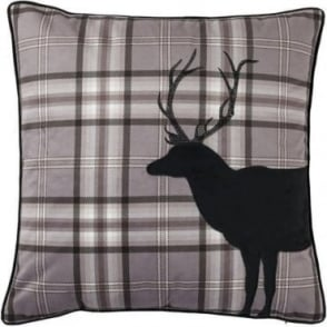 Tartan Stag Cushion Cover in Charcoal Grey