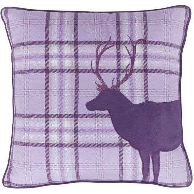Catherine Lansfield Tartan Stag Cushion Cover in Heather