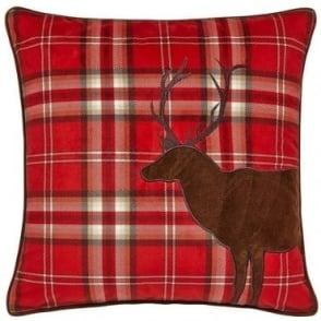 Tartan Stag Cushion Cover in Red