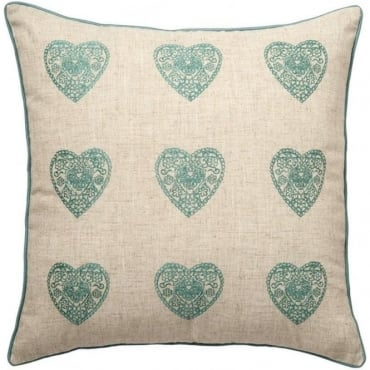 Vintage Hearts Cushion Cover in Duck Egg Blue