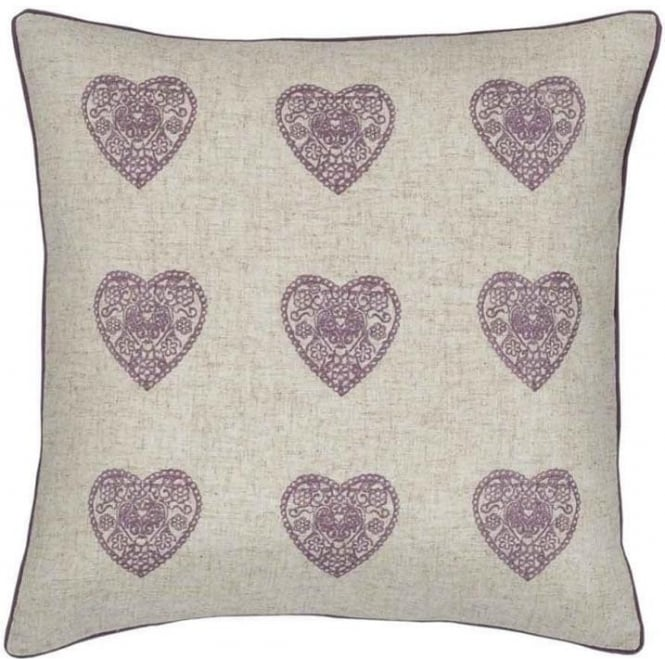 Catherine Lansfield Vintage Hearts Cushion Cover in Heather