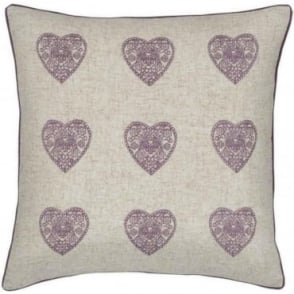 Vintage Hearts Cushion Cover in Heather