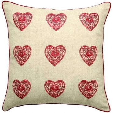 Vintage Hearts Cushion Cover in Red