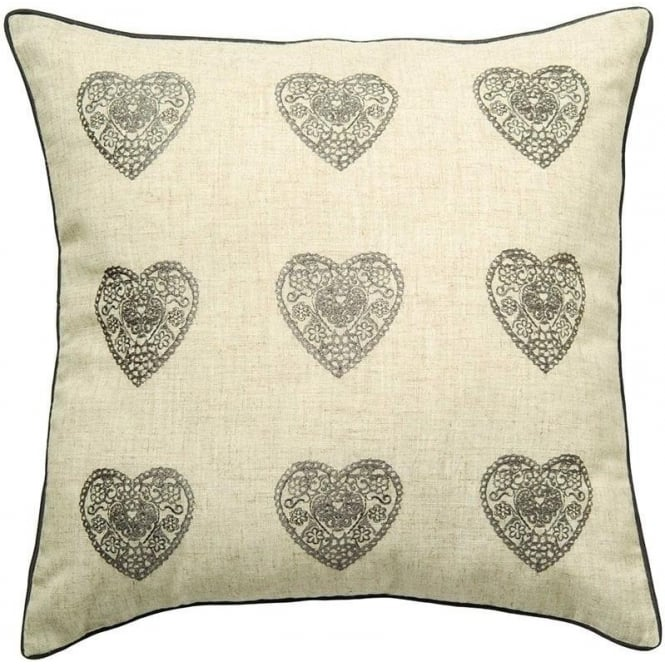 Catherine Lansfield Vintage Hearts Cushion Cover in Silver