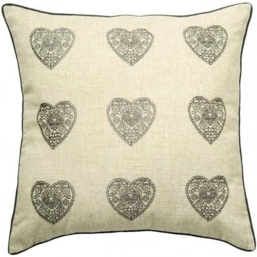 Vintage Hearts Cushion Cover in Silver