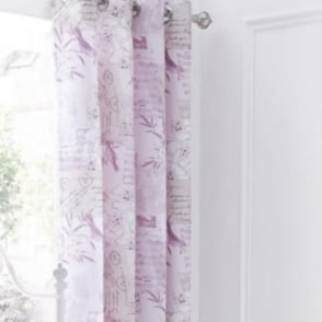 Vintage Postcard Eyelet Curtains in Heather