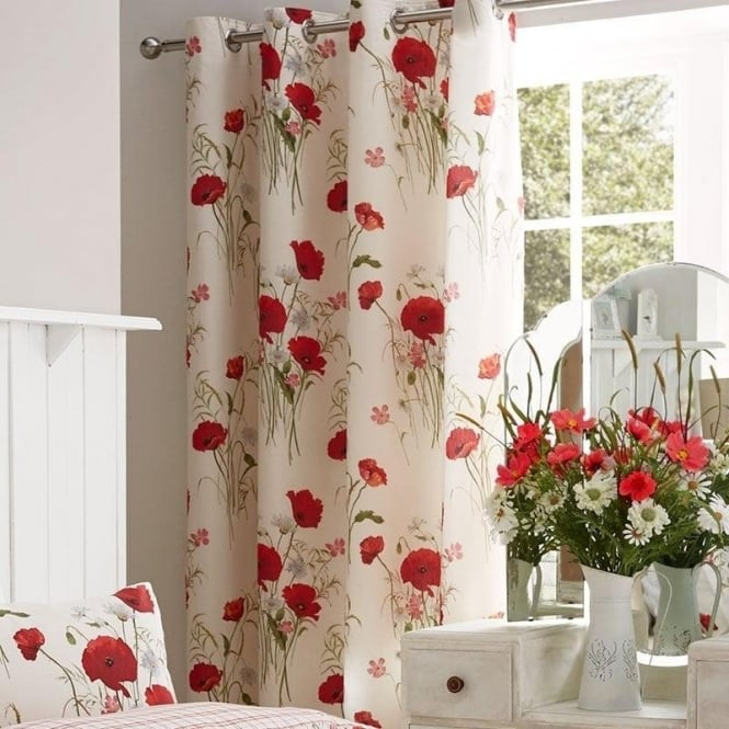 Catherine Lansfield Quot Wild Poppies Quot Eyelet Curtains