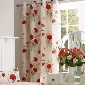 Wild Poppies Eyelet Curtains