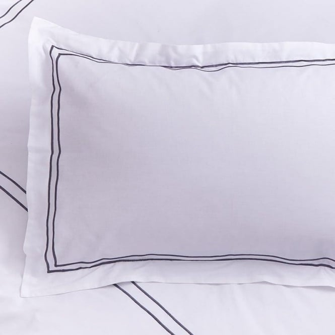 Charlotte Thomas 1 only Mayfair Oxford Pillowcase in White & Slate Grey 100% Cotton Percale 200 Thread Count