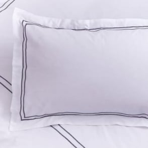 1 only Mayfair Oxford Pillowcase in White & Slate Grey 100% Cotton Percale 200 Thread Count