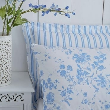 1 Pair Amelie Toile Housewife Pillowcase Blue Polycotton 144 Thread Count