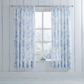 1 Pair Amelie Toile Pencil Pleat Curtains Blue Polycotton 144 Thread Count