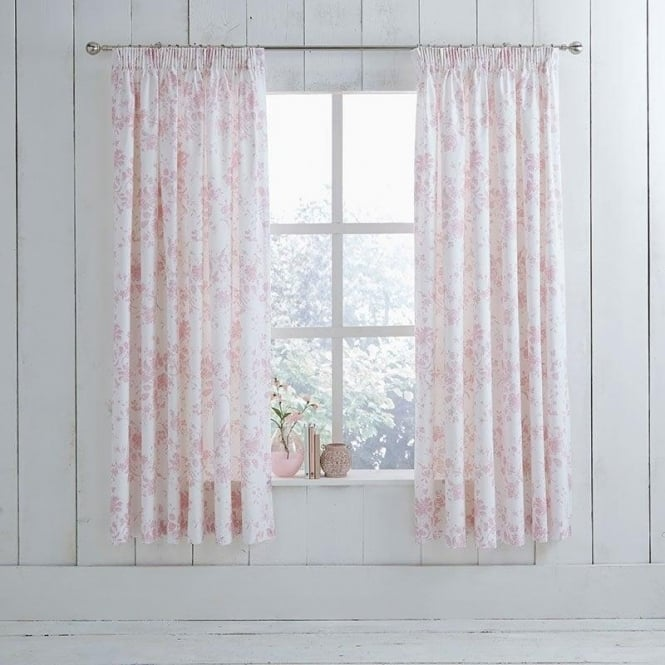 Charlotte Thomas 1 Pair Amelie Toile Pencil Pleat Curtains Pink Polycotton 144 Thread Count