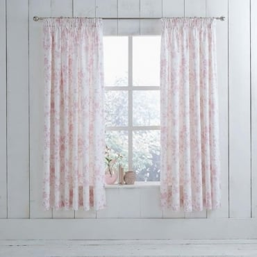 1 Pair Amelie Toile Pencil Pleat Curtains Pink Polycotton 144 Thread Count