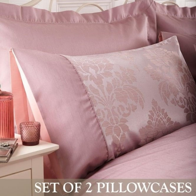 Charlotte Thomas 1 Pair Anastasia Housewife Pillowcases in Dark Pink Jacquard/Polycotton