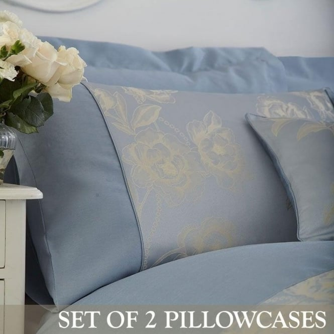 Charlotte Thomas 1 Pair Antonia Housewife Pillowcases in Duck Egg Blue Jacquard/ Polycotton