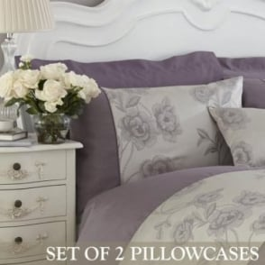 1 Pair Antonia Housewife Pillowcases in Light Purple & Grey Jacquard/Polycotton