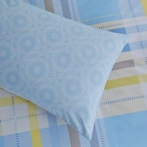 1 Pair Camden Check Housewife Pillowcases Blue Polycotton 144 Thread Count