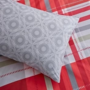1 Pair Camden Check Housewife Pillowcases Red Poly/Cotton 144 Thread Count