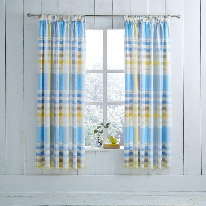 Charlotte Thomas 1 Pair Camden Check Pencil Pleat Curtains Blue Dyed Polycotton 144 Thread Count