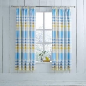 1 Pair Camden Check Pencil Pleat Curtains Blue Dyed Polycotton 144 Thread Count