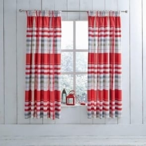 1 Pair Camden Check Pencil Pleat Curtains Red Poly Cotton 144 Thread Count