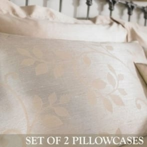 1 Pair Caterina Housewife Pillowcases in Gold Jacquard/Polycotton