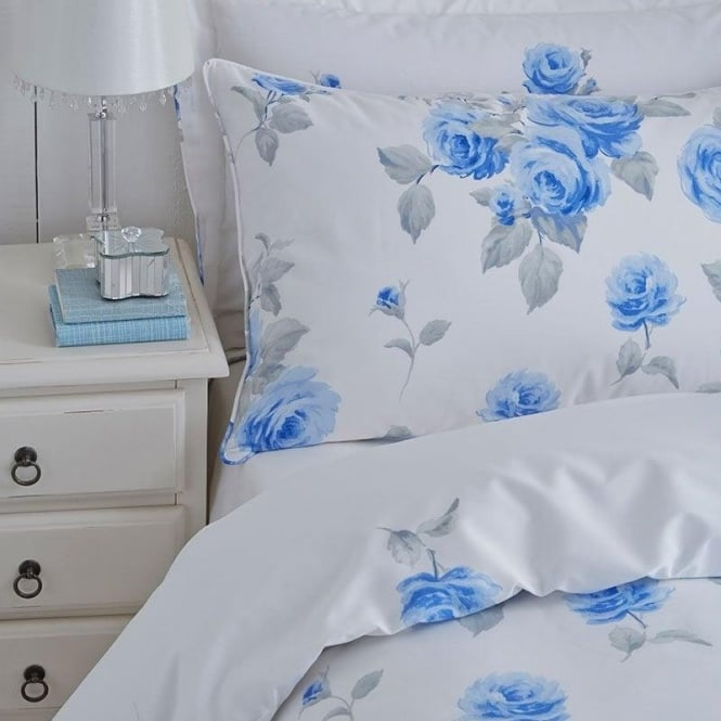 Charlotte Thomas 1 Pair Chloe Floral Housewife Pillowcases Blue Polycotton 144 Thread Count