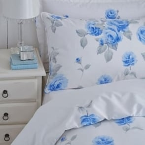 1 Pair Chloe Floral Housewife Pillowcases Blue Polycotton 144 Thread Count